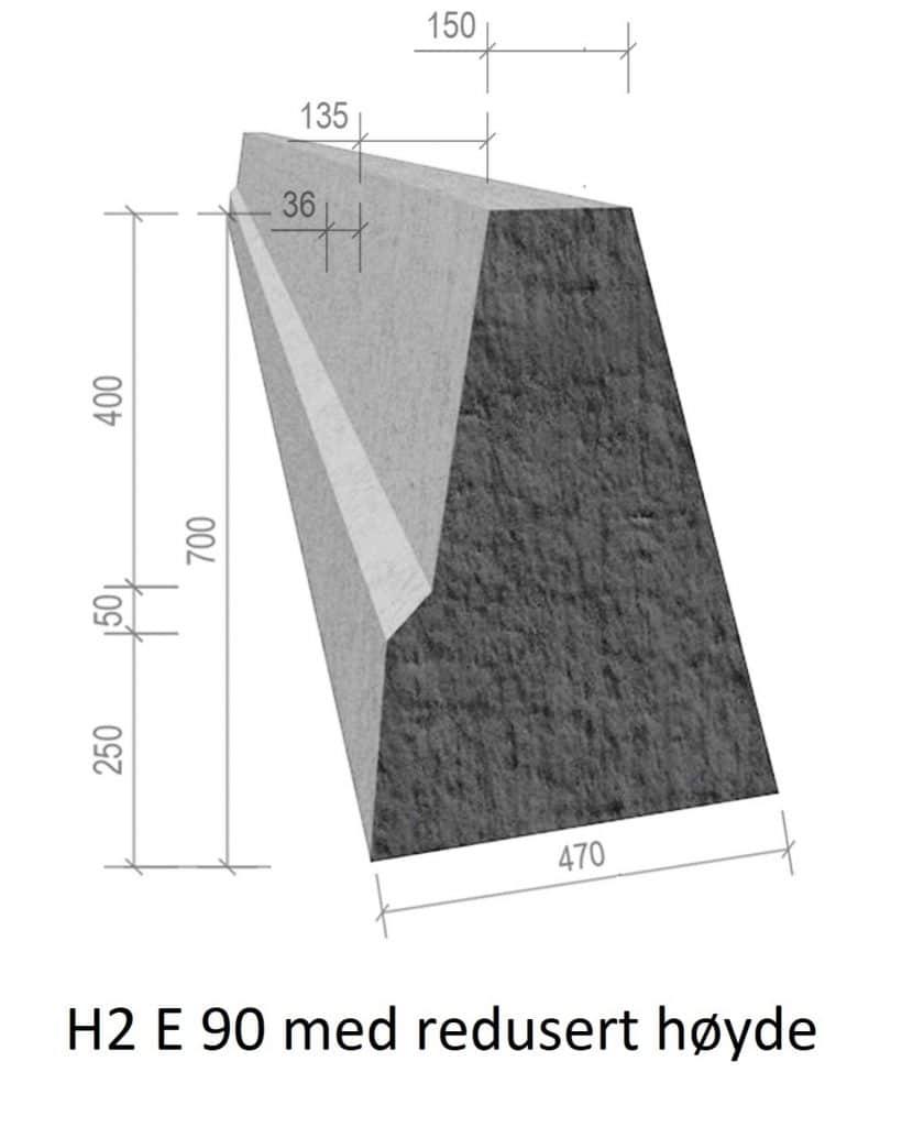 Betongrekkverk H2 E90 med redusert høyde